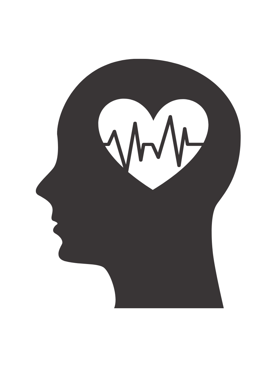 Graphic of a heart icon inside a person's head